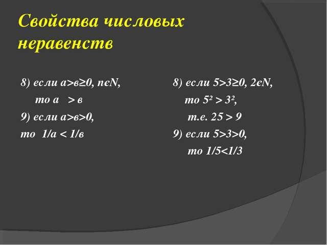 Свойства числовых неравенств 8) если а>в≥0, nєN, то аⁿ > вⁿ 9) если а>в>0, то...