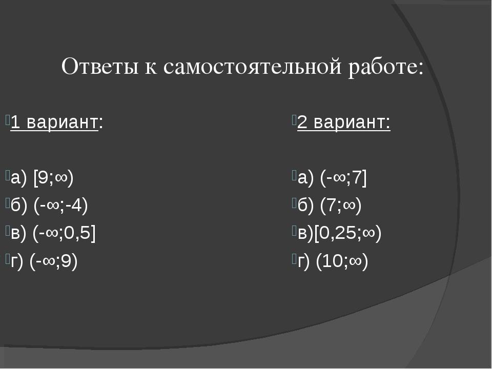 Ответы к самостоятельной работе: 1 вариант: a) [9;∞) б) (-∞;-4) в) (-∞;0,5] г...
