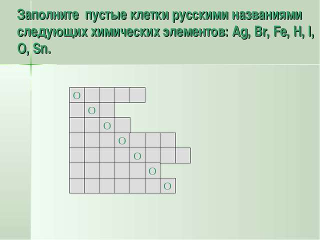 Заполните пустые клетки русскими названиями следующих химических элементов: A...