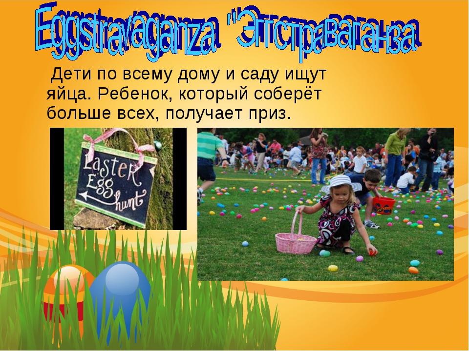 Дети по всему дому и саду ищут яйца. Ребенок, который соберёт больше всех, п...