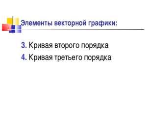 Элементы векторной графики: 3. Кривая второго порядка 4. Кривая третьего поря