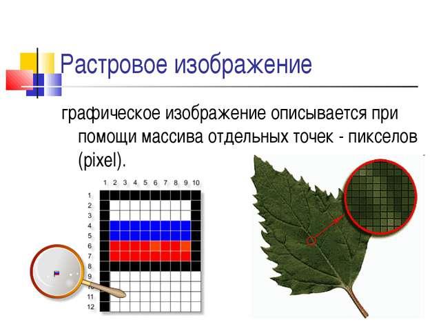Растровое изображение графическое изображение описывается при помощи массива...