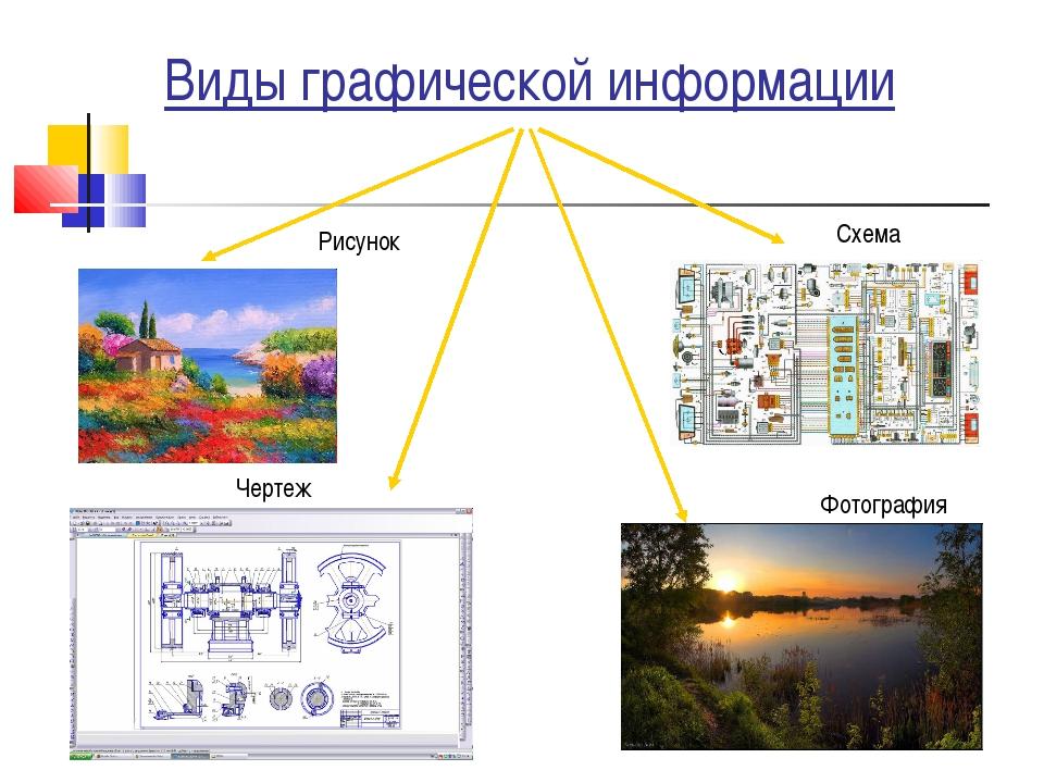Виды графической информации Чертеж Фотография Схема Рисунок