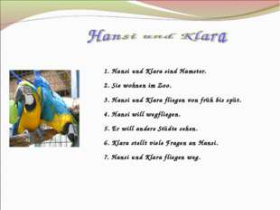 1. Hansi und Klara sind Hamster. 2. Sie wohnen im Zoo. 3. Hansi und Klara fli