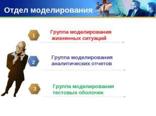 Отдел моделирования Группа моделирования жизненных ситуаций 1 Группа моделиро