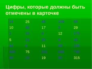 Цифры, которые должны быть отмечены в карточке 14254510955 104617329