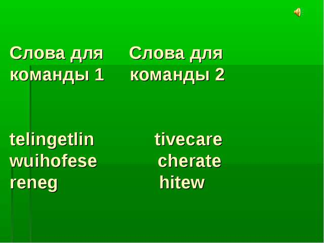 Слова для Слова для команды 1 команды 2 telingetlin tivecare wuihofese cherat...