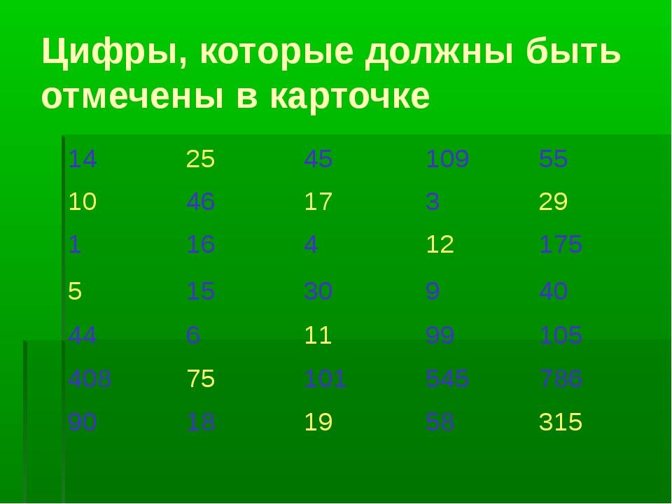 Цифры, которые должны быть отмечены в карточке 14254510955 104617329...