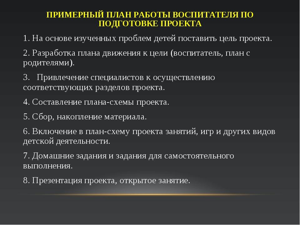ПРИМЕРНЫЙ ПЛАН РАБОТЫ ВОСПИТАТЕЛЯ ПО ПОДГОТОВКЕ ПРОЕКТА 1. На основе изученны...