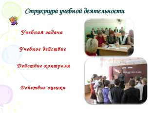 Структура учебной деятельности Учебная задача Учебное действие Действие конт