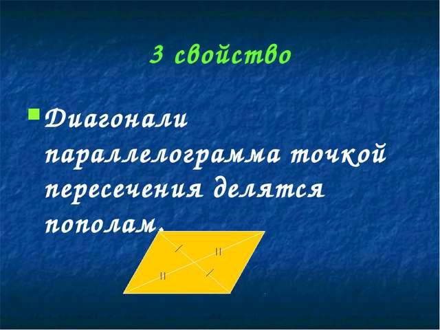 3 свойство Диагонали параллелограмма точкой пересечения делятся пополам.