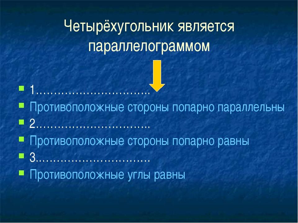 Четырёхугольник является параллелограммом 1………………………….. Противоположные сто...
