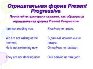 Отрицательная форма Present Progressive. Прочитайте примеры и скажите, как об
