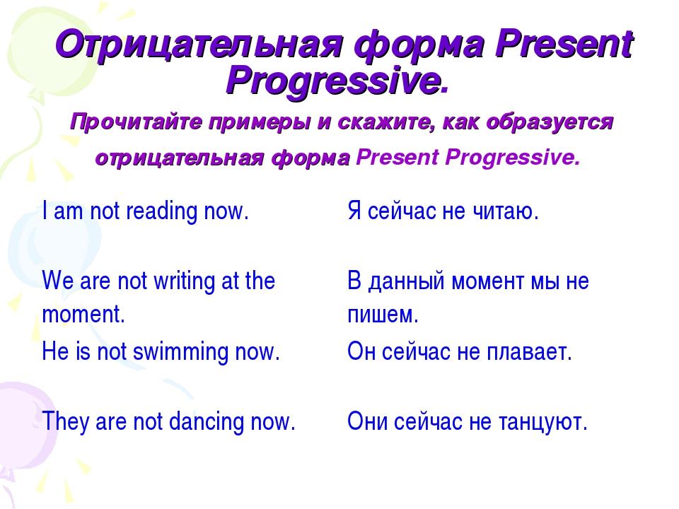 Отрицательная форма Present Progressive. Прочитайте примеры и скажите, как об...