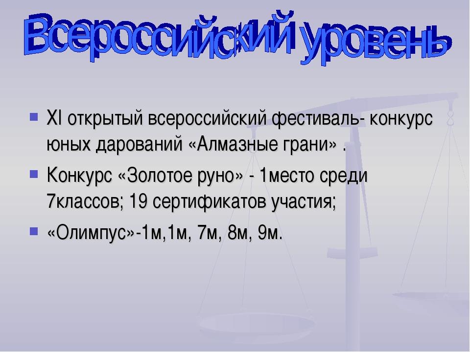 ХI открытый всероссийский фестиваль- конкурс юных дарований «Алмазные грани»...