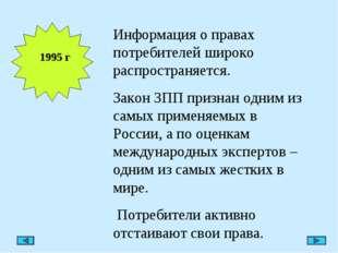1995 г Информация о правах потребителей широко распространяется. Закон ЗПП пр