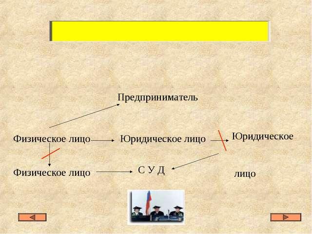 Физическое лицо Физическое лицо Юридическое лицо Предприниматель Юридическое...