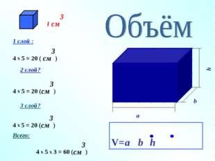 4 x 5 = 20 (см3) 4 x 5 = 20 (см3) 1 слой : 4 x 5 = 20 ( см3) 2 слой? 3 слой?