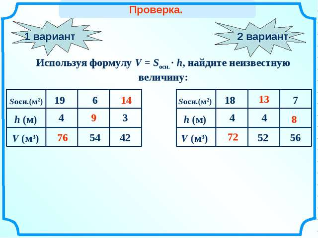1 вариант Используя формулу V = Sосн. · h, найдите неизвестную величину: 76 7...