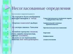 Несогласованные определения Несогласованные определения выражаются: На портре