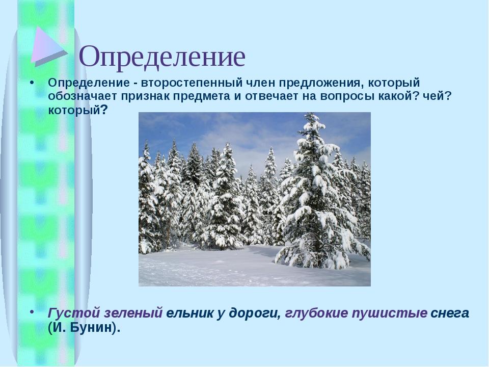 Определение Определение - второстепенный член предложения, который обозначает...