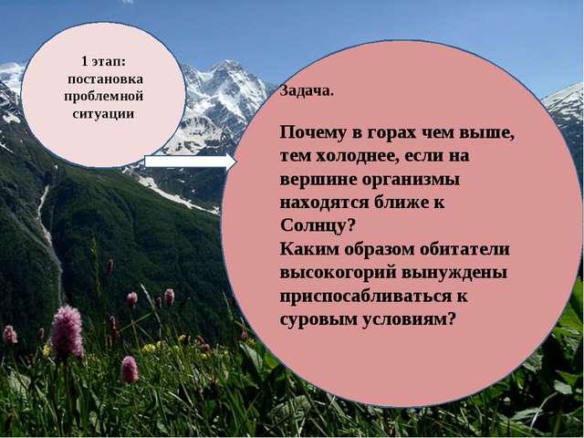 1 этап: постановка проблемной ситуации Задача. Почему в горах чем выше, тем х...