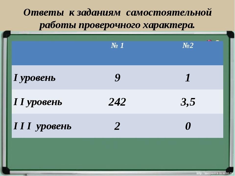 Ответы к заданиям самостоятельной работы проверочного характера. № 1№2 I ур...