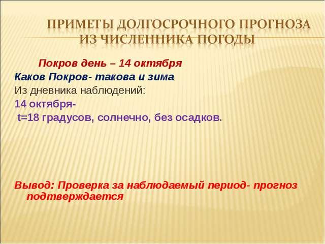 Покров день – 14 октября Каков Покров- такова и зима Из дневника наблюдений:...