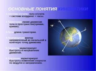 ОСНОВНЫЕ ПОНЯТИЯ КИНЕМАТИКИ 1.Система отсчета: тело отсчета + система координ