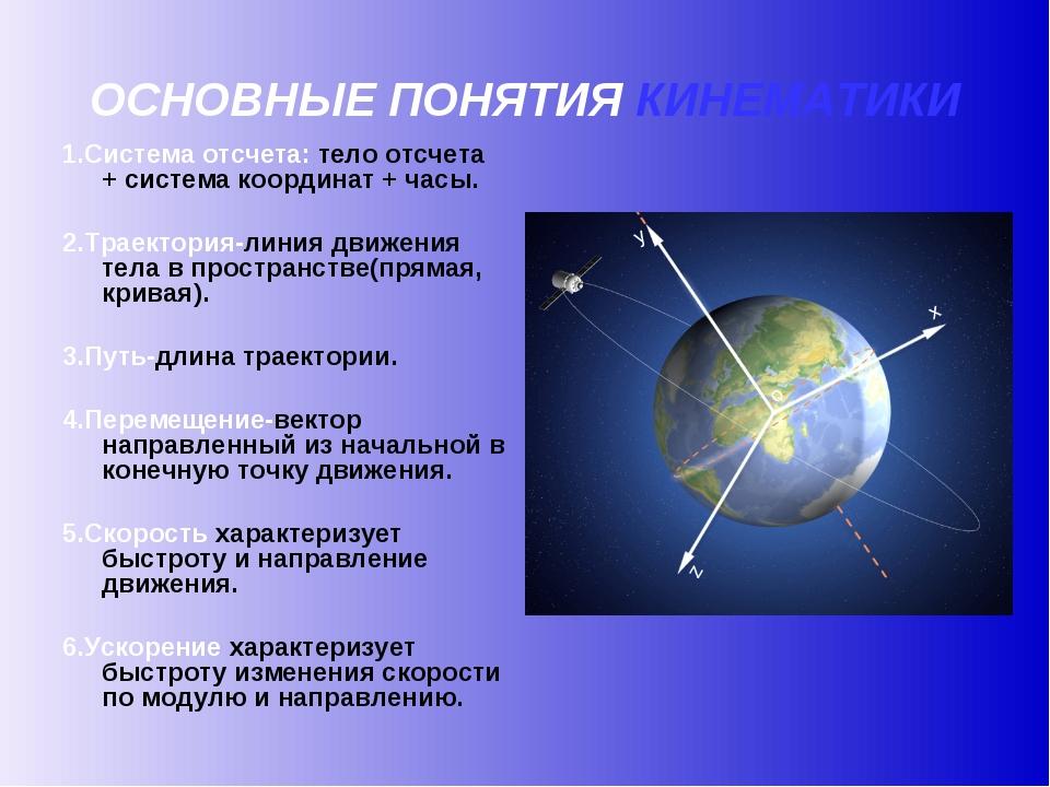 ОСНОВНЫЕ ПОНЯТИЯ КИНЕМАТИКИ 1.Система отсчета: тело отсчета + система координ...