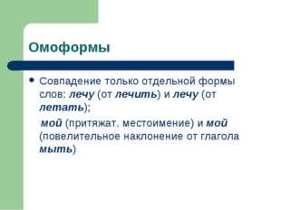 Омоформы Совпадение только отдельной формы слов: лечу (от лечить) и лечу (от