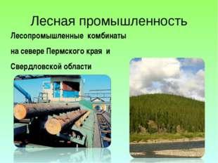 Лесная промышленность Лесопромышленные комбинаты на севере Пермского края и С