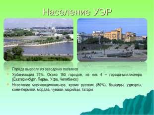 Население УЭР Города выросли из заводских поселков Урбанизация 75%. Около 150