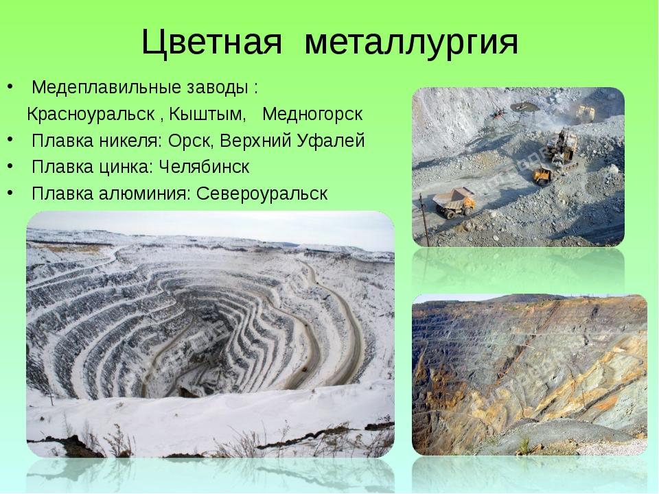Цветная металлургия Медеплавильные заводы : Красноуральск , Кыштым, Медногорс...