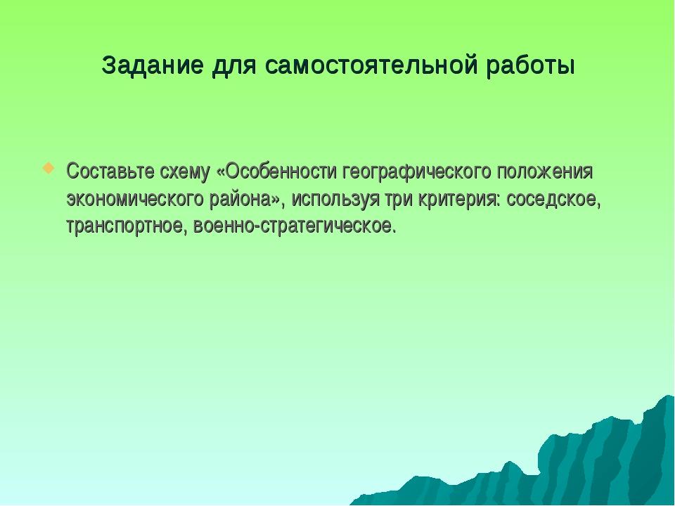Задание для самостоятельной работы Составьте схему «Особенности географическо...