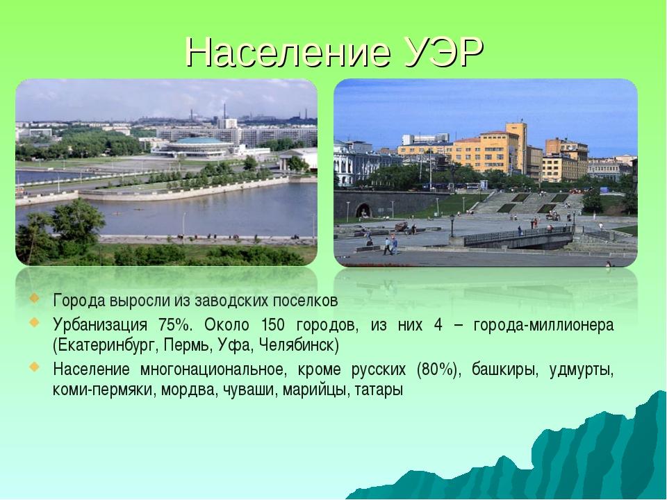 Население УЭР Города выросли из заводских поселков Урбанизация 75%. Около 150...