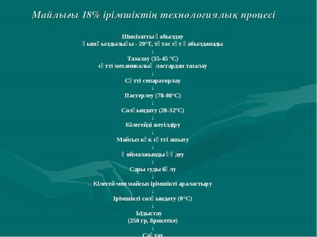 Майлығы 18% ірімшіктің технологиялық процесі Шикізатты қабылдау қышқылдылығы...