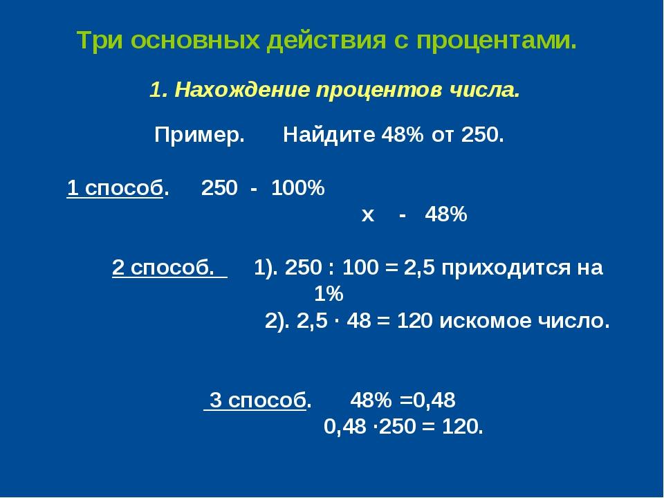 Три основных действия с процентами. 1. Нахождение процентов числа. Пример. На...