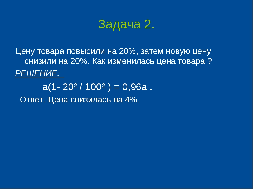 Задача 2. Цену товара повысили на 20%, затем новую цену снизили на 20%. Как и...