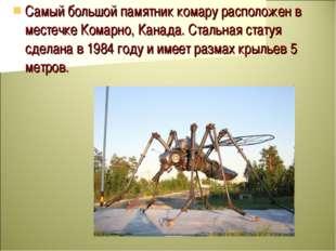 Самый большой памятник комару расположен в местечке Комарно, Канада. Стальная