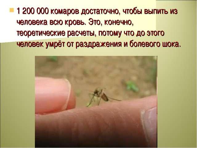 1 200 000 комаров достаточно, чтобы выпить из человека всю кровь. Это, конечн...