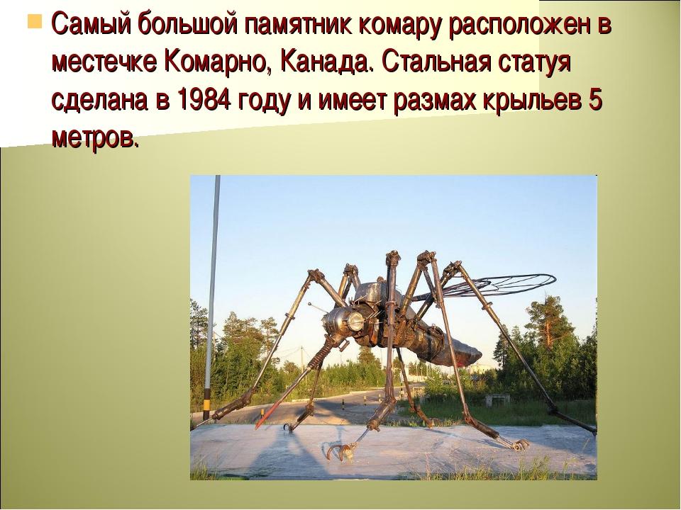 Самый большой памятник комару расположен в местечке Комарно, Канада. Стальная...