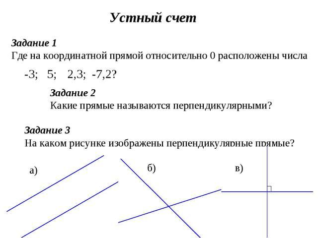Устный счет Задание 1 Где на координатной прямой относительно 0 расположены ч...
