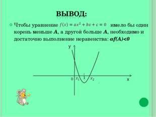 Чтобы уравнение имело бы один корень меньше А, а другой больше А, необходимо