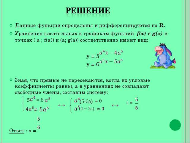 Данные функции определены и дифференцируются на R. Уравнения касательных к гр...