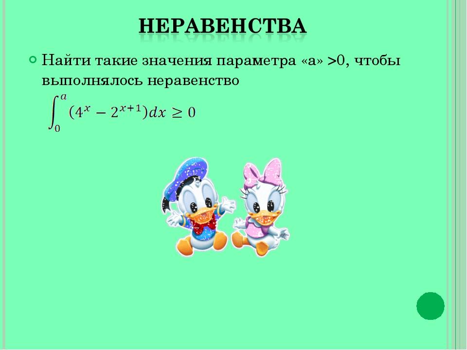 Найти такие значения параметра «a» >0, чтобы выполнялось неравенство