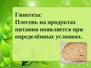 Гипотеза: Плесень на продуктах питания появляется при определённых условиях.
