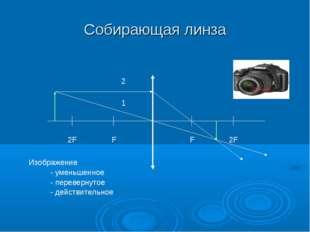Собирающая линза F 2F F 2F 1 2 Изображение - уменьшенное - перевернутое - дей