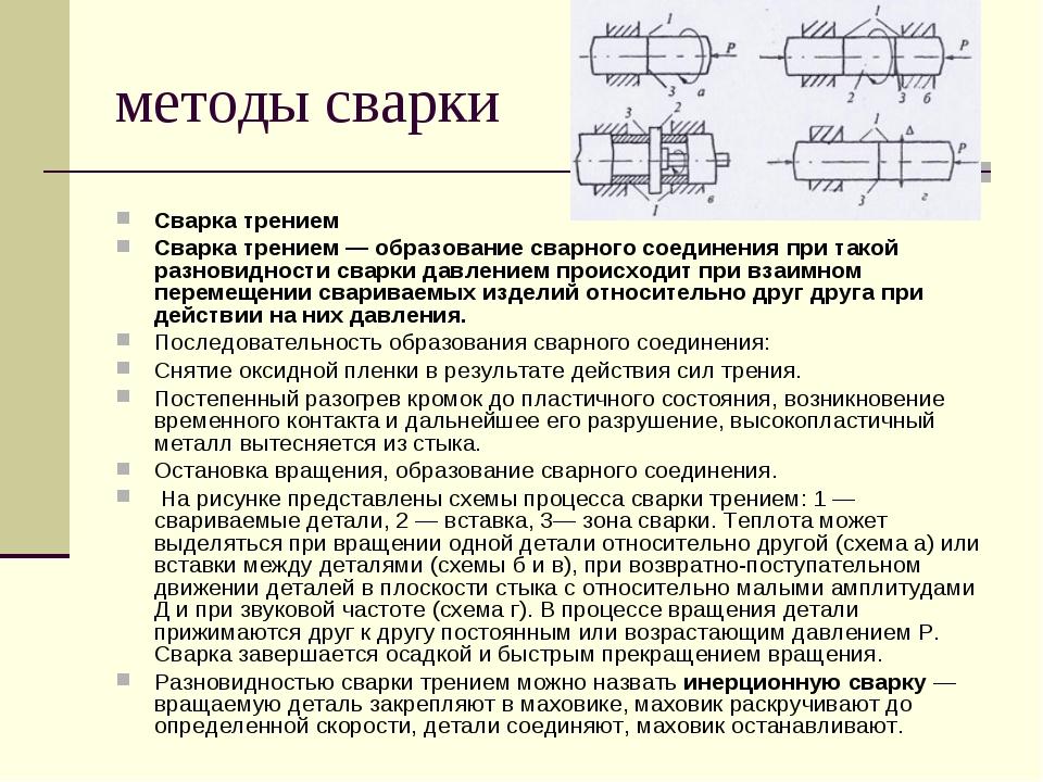 методы сварки Сварка трением Сварка трением — образование сварного соединения...