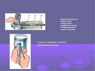 Снятие стопоpного кольца поpшневого пальца Приспособление для выпрессовки из